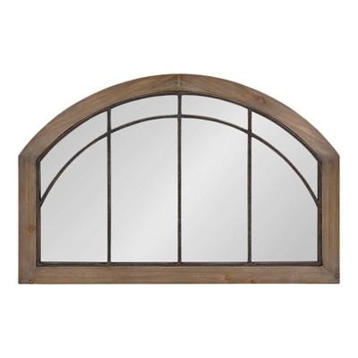 "36"" x 24"" Haldron Wood Arch Mirror Rustic Brown/Black - Kate and Laurel"