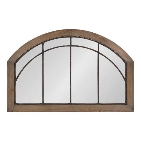 "36"" x 24"" Haldron Wood Arch Mirror Rustic Brown/Black - Kate and Laurel - image 1 of 4"