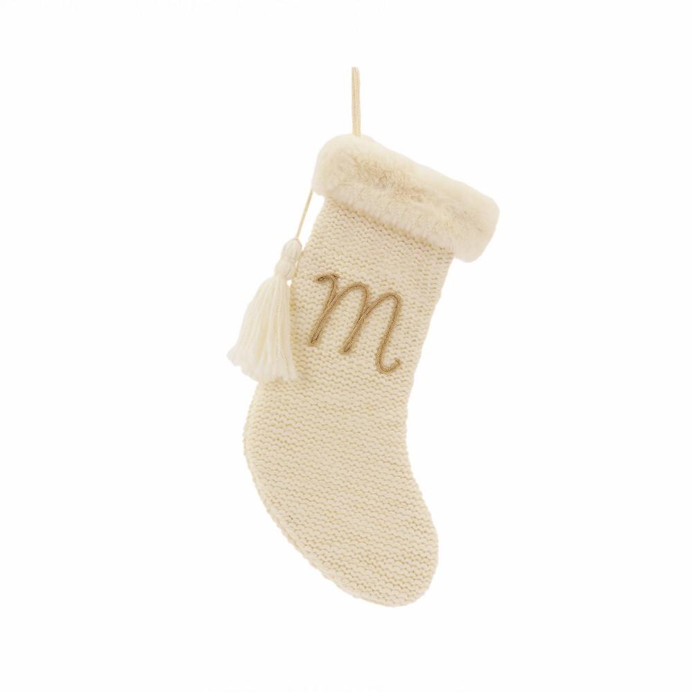 20 Knit Monogram Christmas Stocking Cream (Ivory) M - Wondershop
