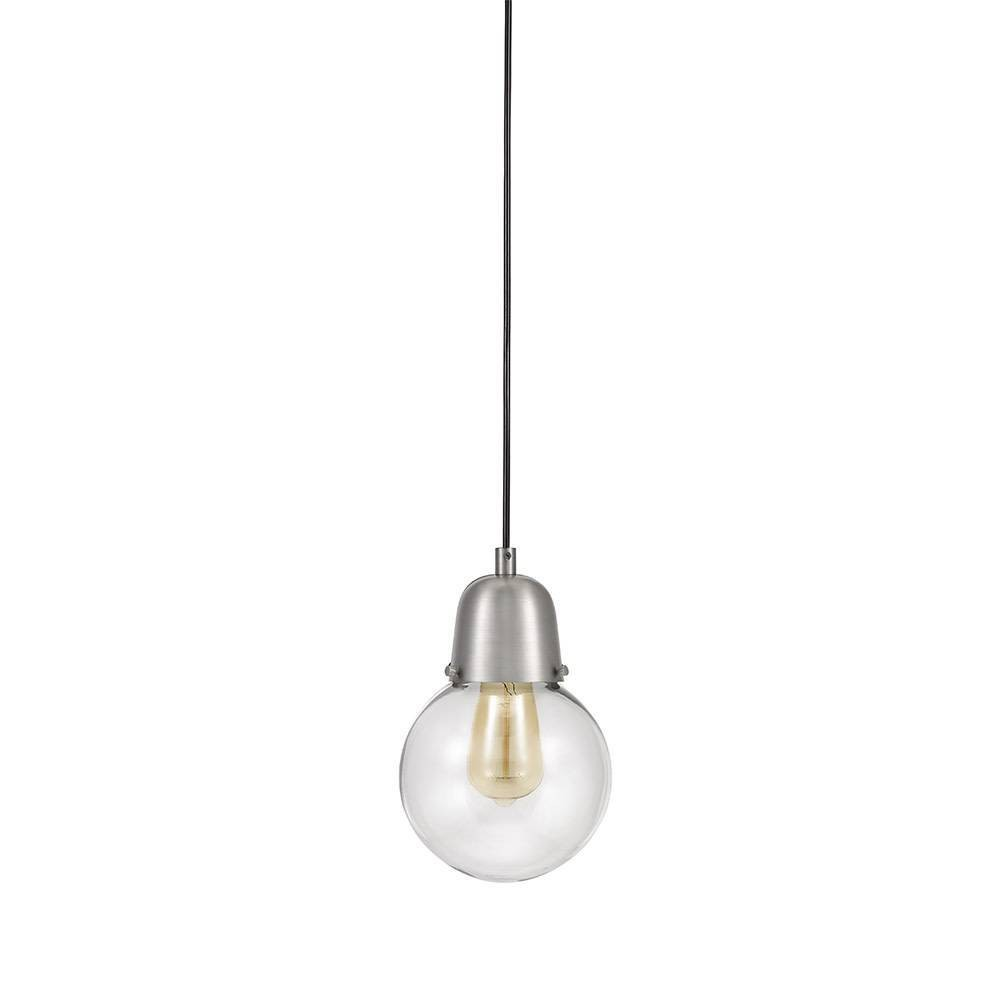 Image of One Light Swag Pendant Brushed Steel - Cresswell Lighting, Silver