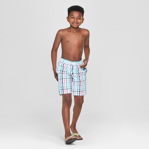 911fc33153 Boys' Textured Plaid Swim Trunks - Cat & Jack™ White. Shop all Cat & Jack