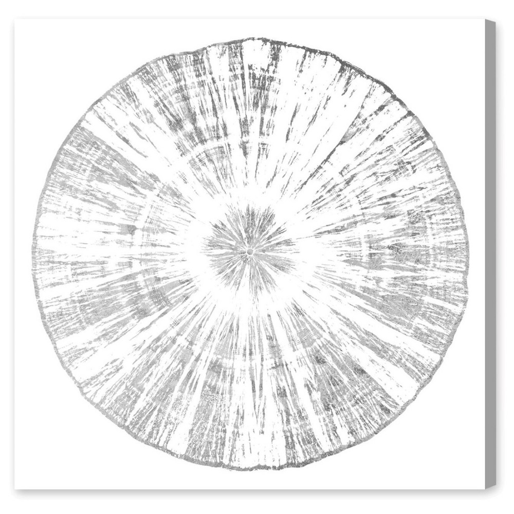 """Image of """"Oliver Gal Unframed Wall """"""""Cuore Legno Silver"""""""" Canvas Art (20x20), Silver"""""""