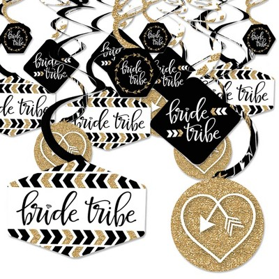 """Big Dot of Happiness """"Bride Tribe"""" - Bridal Shower or Bachelorette Party Hanging Decor - Party Decoration Swirls - Set of 40"""