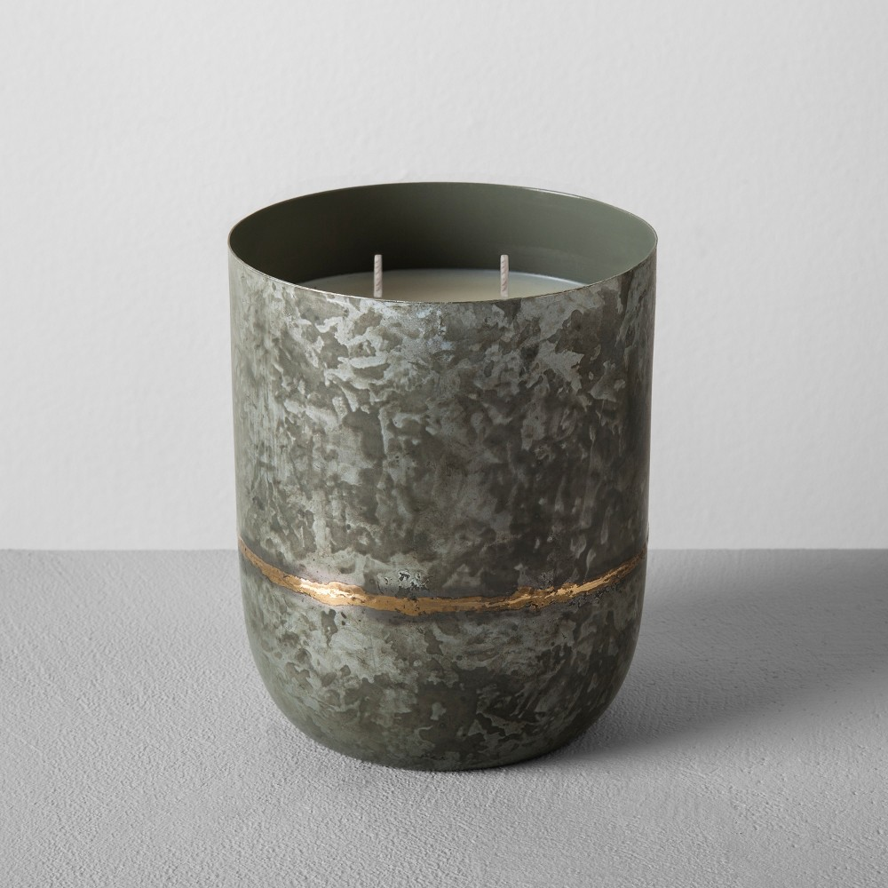 Image of 25oz Galvanized Container Candle Cedar Magnolia - Hearth & Hand with Magnolia