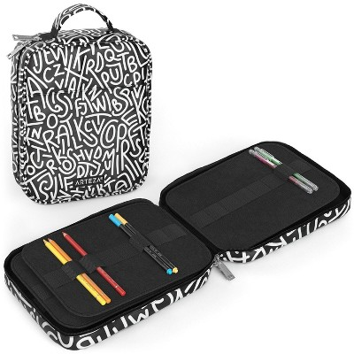 Arteza Pencil Case, Black & White Pattern - 64 Slots (ARTZ-9597)