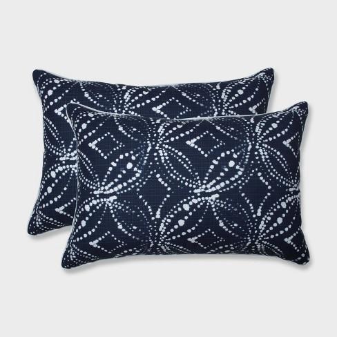 2pk Oversize Gerardo Italian Denim Rectangular Throw Pillows Blue - Pillow Perfect - image 1 of 1