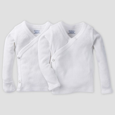 Gerber Baby Organic Cotton 2pk Long Sleeve Side Snap Shirt with Mitten Cuff - White 0/3M