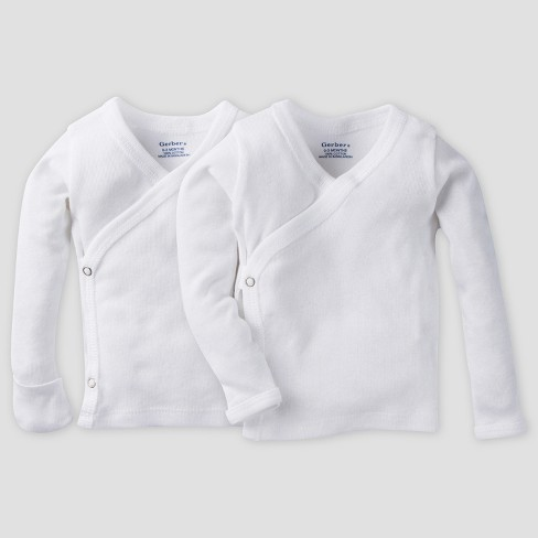 Gerber Baby Organic Cotton 2pk Long Sleeve Side Snap Shirt with Mitten Cuff - White 0/3M - image 1 of 1