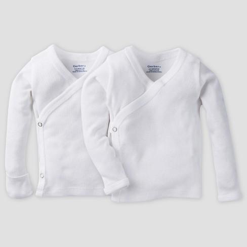 716dba7e1 Gerber Baby Organic Cotton 2pk Long Sleeve Side Snap Shirt with Mitten Cuff  - White 0/3M