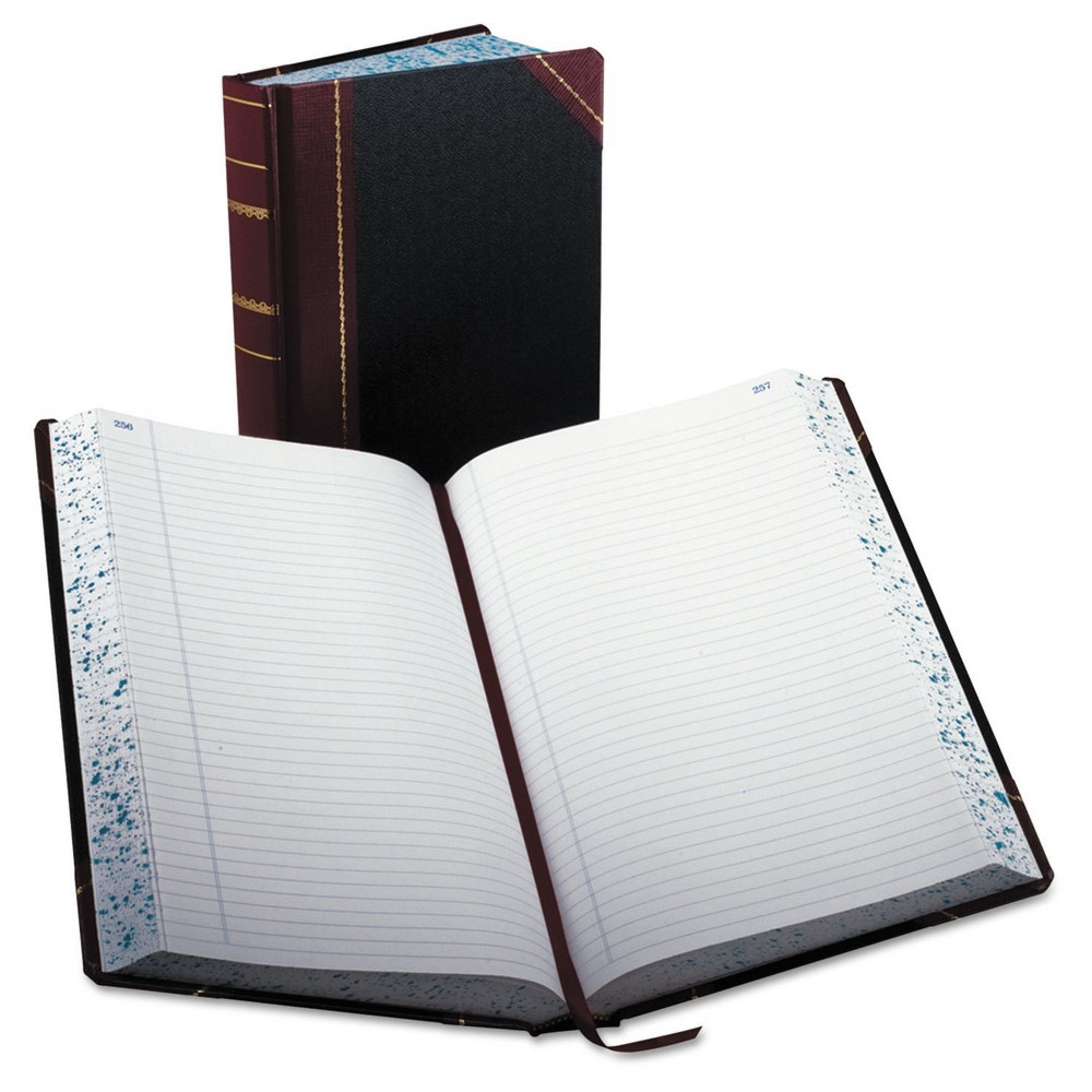 "Image of ""Boorum & Pease Record/Account Composition Book, Record Rule, 500 Pages, 14 1/8"""" x 8 5/8"""" - Black/Red, Size: 500pgs, Red Black"""