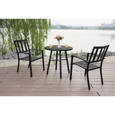 3pc Outdoor Metal Dining Set - Black - Captiva Desings