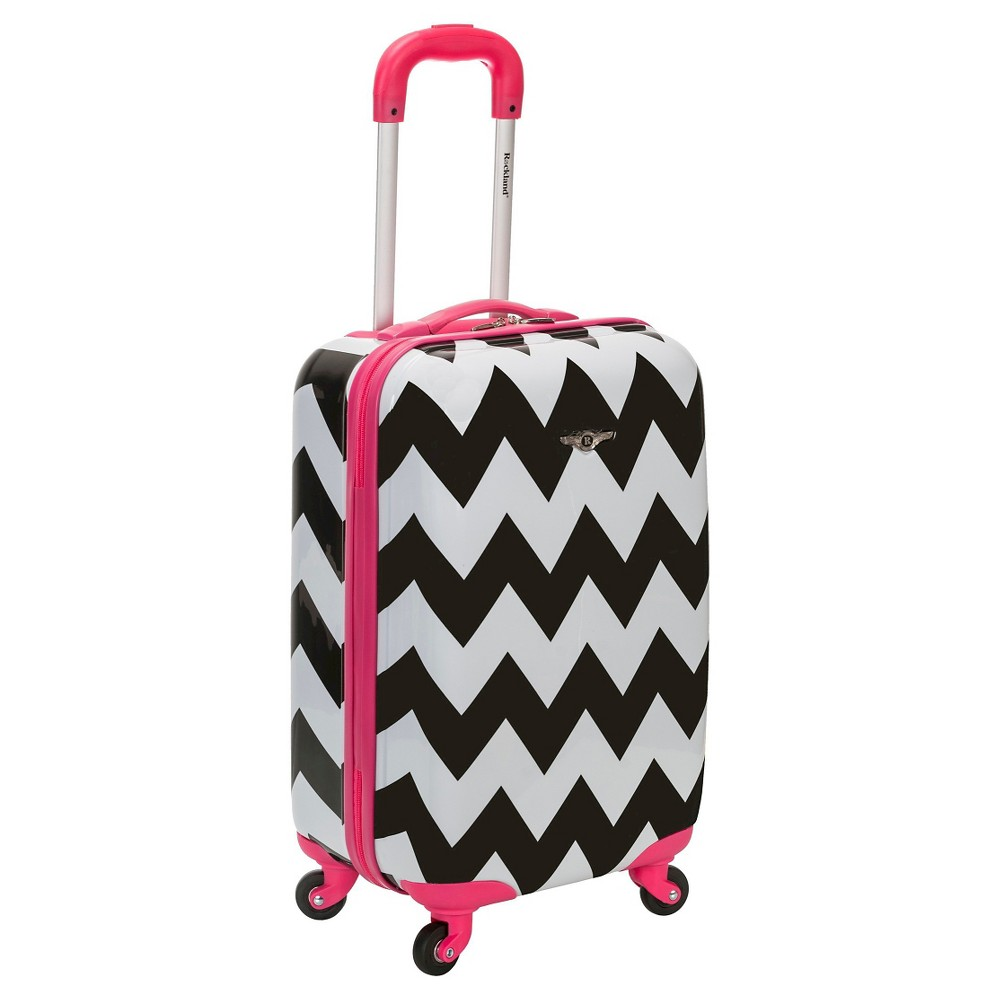 Rockland Sonic 20 Carry On Suitcase Set - Pink Chevron