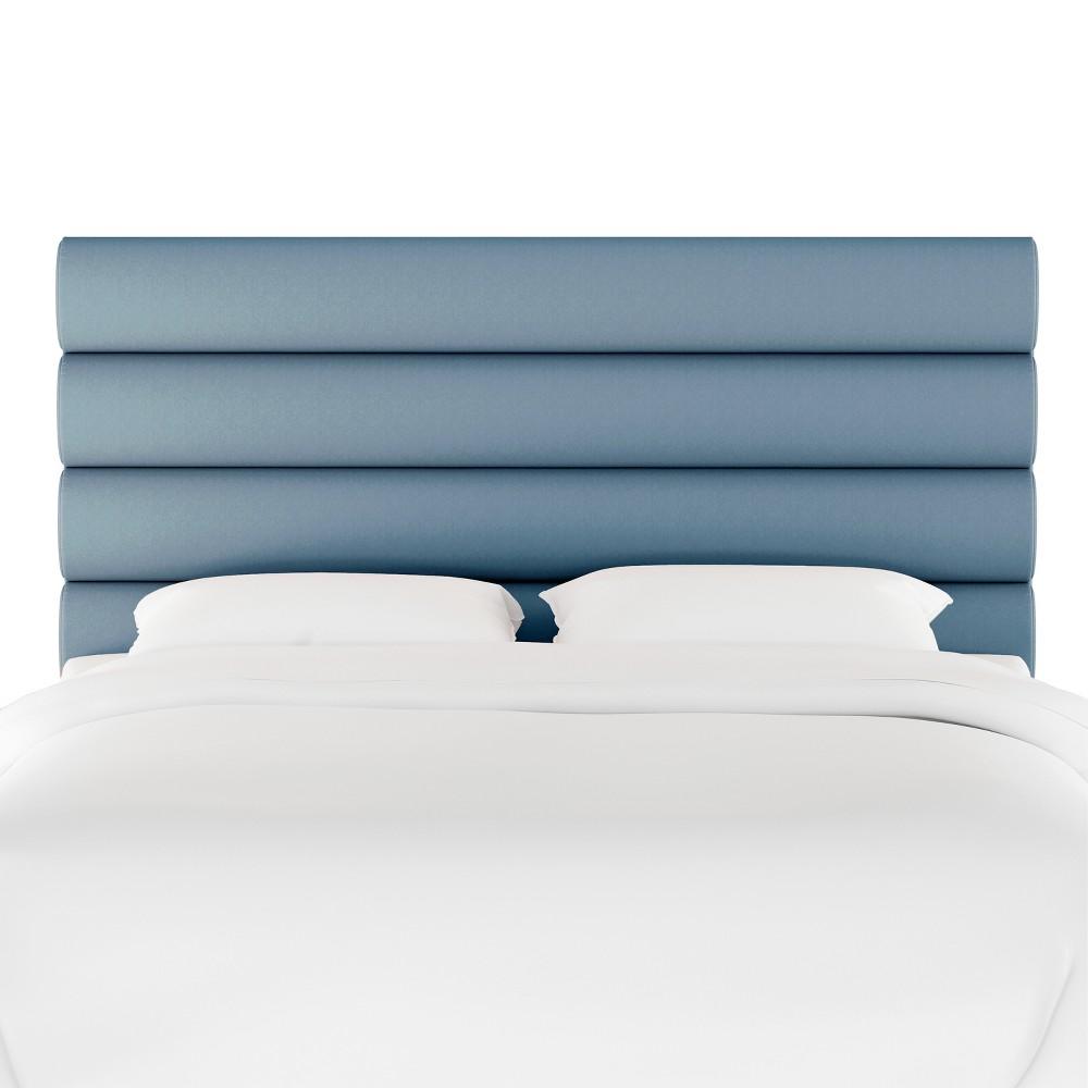 King Horizontal Channel Headboard Light Blue Velvet - Opalhouse