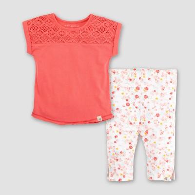 Burt's Bees Baby Girls' Organic Cotton Crochet Yoke Dolman T-shirt & Capri Leggings - Coral 0-3M