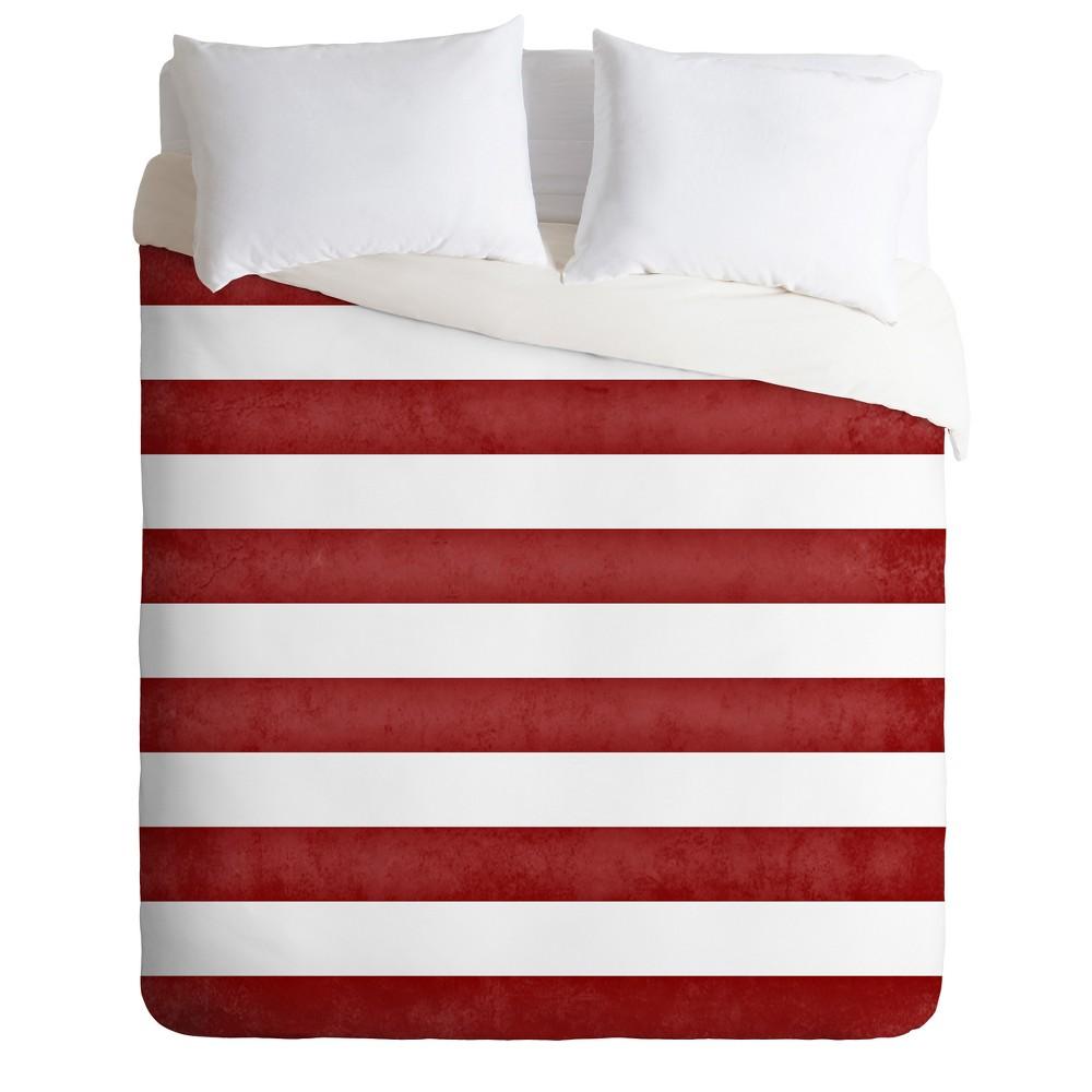 Red Stripes Monika Strigel Farmhouse Duvet Cover Set Queen Deny Designs