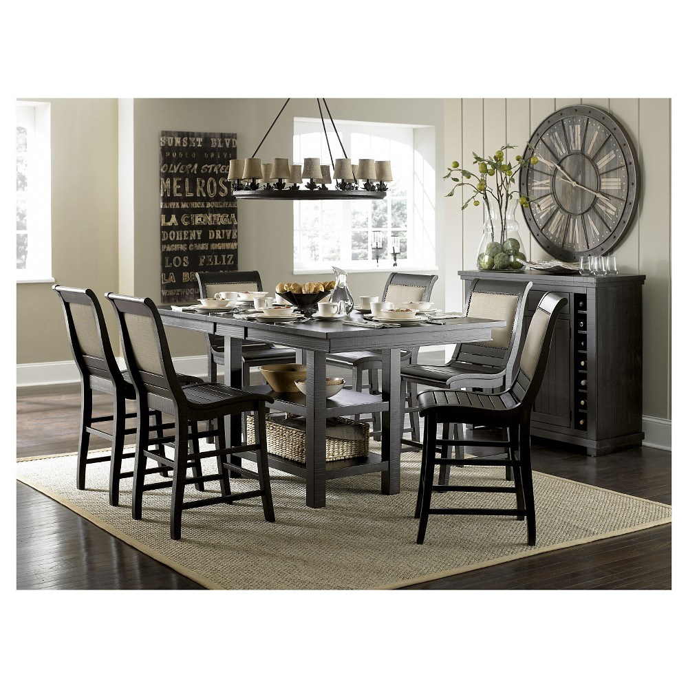 Willow Rectangular Counter Height Dining Table - Distressed Black, Black Denim