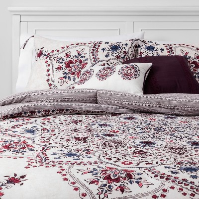 5pc Queen Jana Cotton Comforter Set Berry