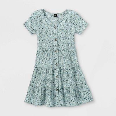 Girls' Tiered Button-Front Short Sleeve Dress - art class™