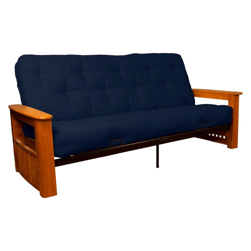 Flip Top Arm 8 Inner Spring Futon Sofa Sleeper Medium Oak Wood Finish Navy (Blue) - Epic Furnishings
