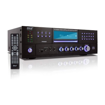 Pyle PD3000BT Bluetooth 4 Channel Home Theater Preamplifier Karaoke Stereo Sound System w/ CD/DVD Player, USB, AUX, 2 Mic Inputs, & AM/FM Radio Tuner