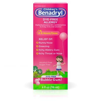 Children's Benadryl Dye-Free Allergy Liquid, Bubble Gum - 4oz