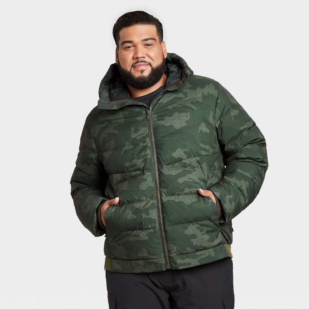 Men's Camo Print Heavyweight Down Puffer Jacket – All in Motion Green S