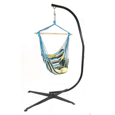Ocean View Hammock Swing with Pillows and Stand - Blue/Yellow Stripe - Sunnydaze Decor - image 1 of 4
