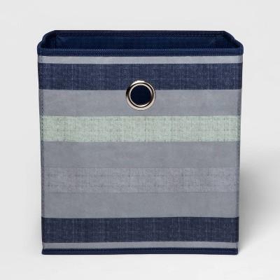 """11"""" Fabric Cube Storage Bin Navy Stripe - Room Essentials™"""