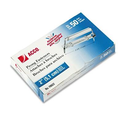 """ACCO Premium Two-Piece Paper File Fasteners 2"""" Cap. 2 3/4"""" Center Silver 50/Box 70022"""