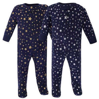 Hudson Baby Baby Cotton Zipper Sleep and Play 2pk, Metallic Stars
