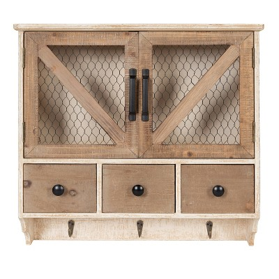 Hutchins Decorative Wooden Wall Cabinet with Chicken Wire 2 Door Rustic/White Washed Finish - Kate & Laurel All Things Decor
