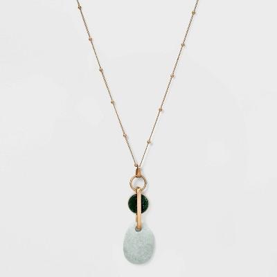 Geometric Link with Semi-Precious Pendant Necklace - Universal Thread™