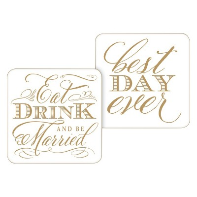 20ct Eat Drink and be Married Paper Coasters
