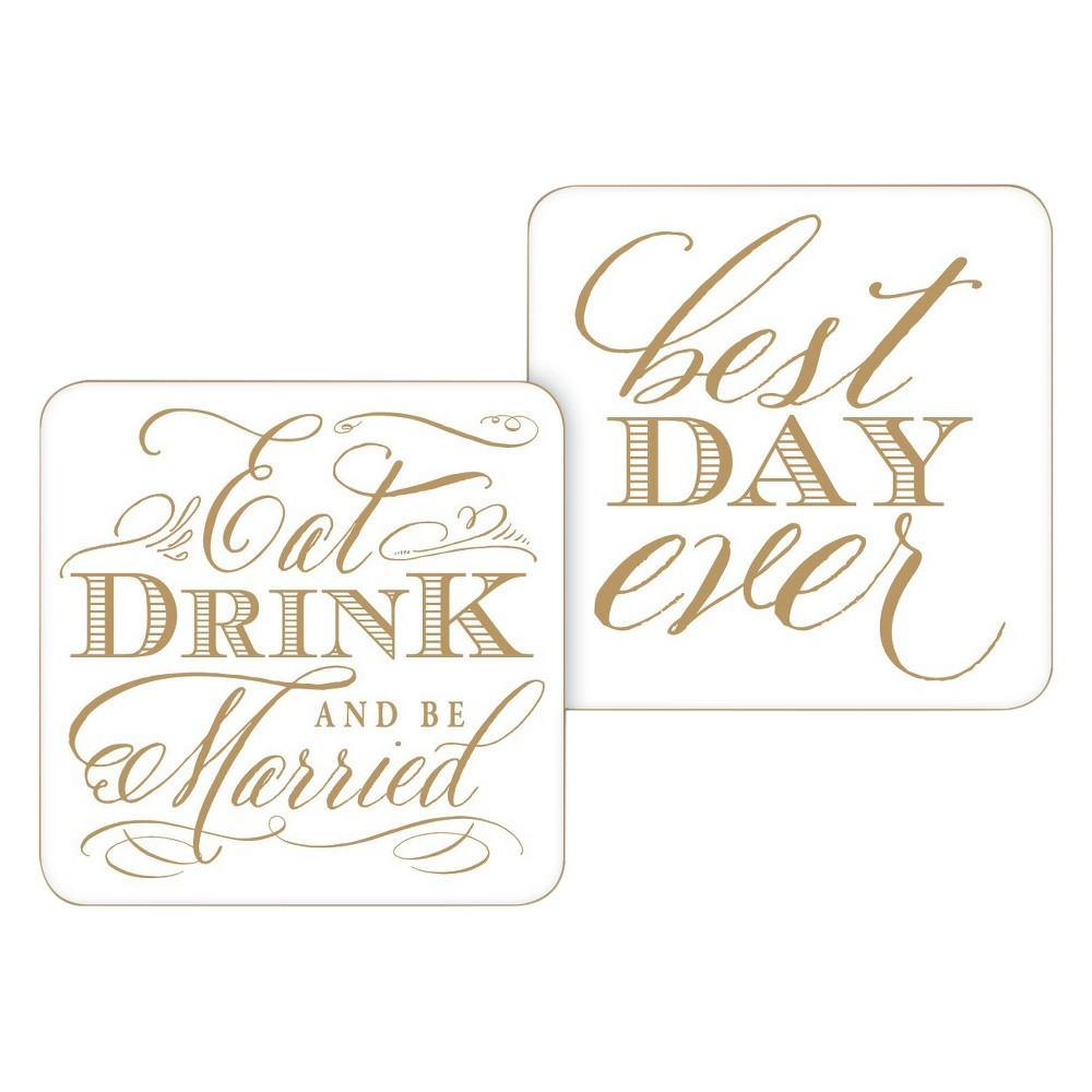 Image of 20ct Eat Drink and be Married Paper Coasters, White