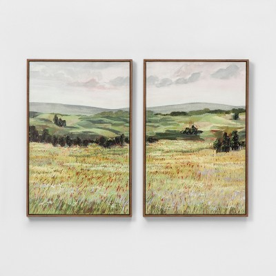 Set of 2 24 x16  Landscape Framed Canvas Wall Art - Threshold™