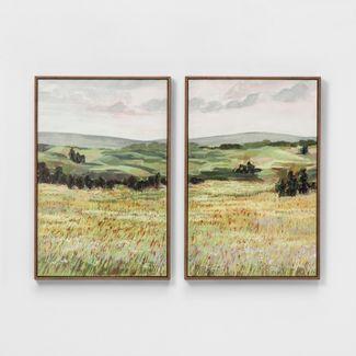 "Set of 2 24""x16"" Landscape Framed Canvas Wall Art - Threshold™"