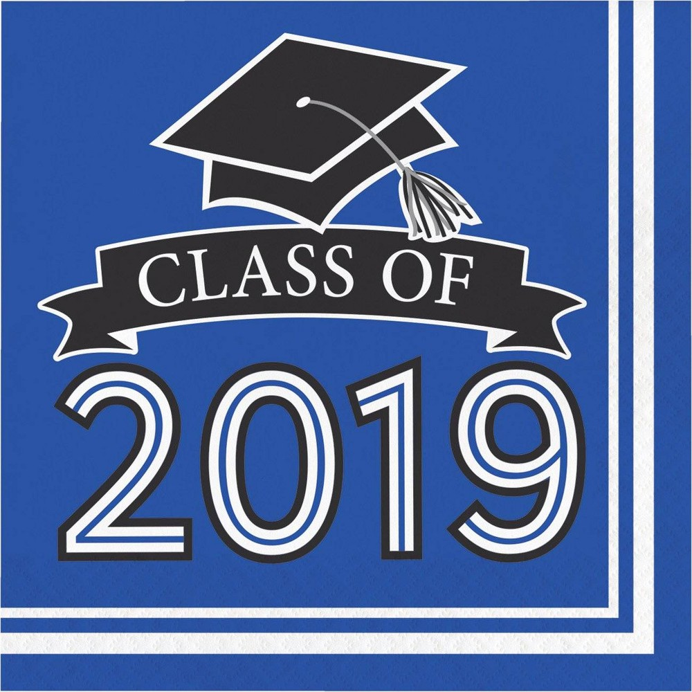 """Image of """"108ct """"""""Class Of 2019"""""""" Disposable Napkins Blue"""""""