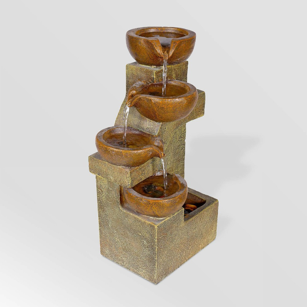 "Image of ""Alpine Corporation 16"""" Tiering Pots Tabletop Fountain - Light Brown"""