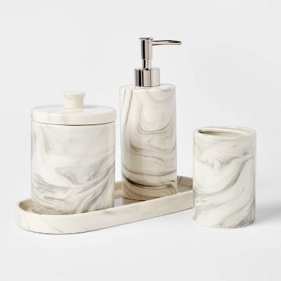 4pc Marbled Ceramic Bathroom Accessories Set Marble - Threshold™