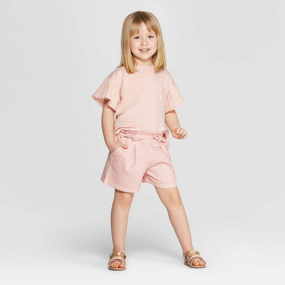 Image of Mila & Emma Toddler Girls' 2pc Short Sleeve T-Shirt and Shorts Set - Pink 4T, Girl's