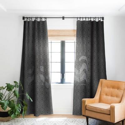 Iveta Abolina Melisande Line Black And White Single Panel Blackout Window Curtain - Deny Designs