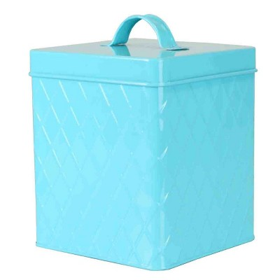 Home Basics Trellis Small Dry Goods Airtight Tin Kitchen Canister, Turquoise