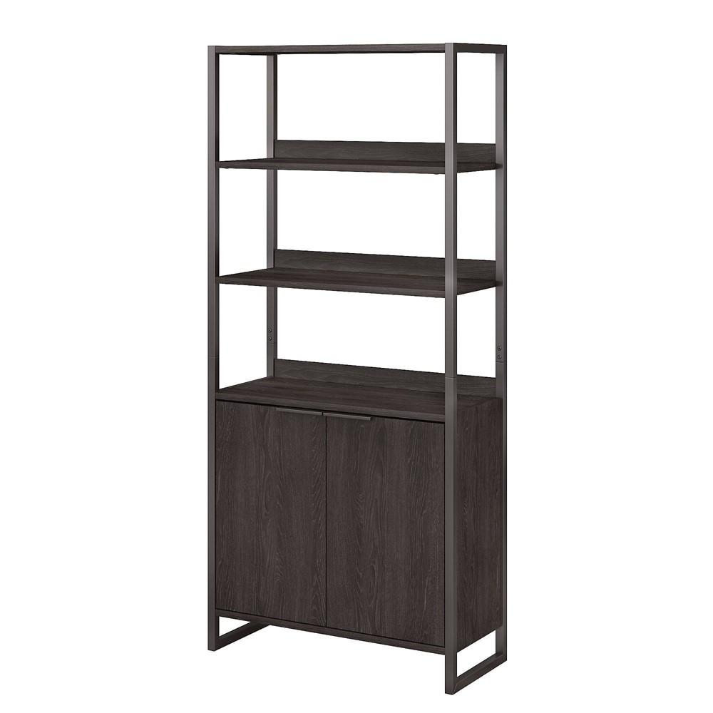 Image of Atria 5 Shelf Bookcase with Doors Charcoal Gray - Kathy Ireland Home