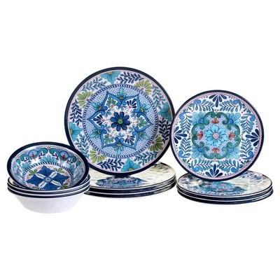 Certified International Talavera by Nancy Green Melamine 12pc Dinnerware Set Blue