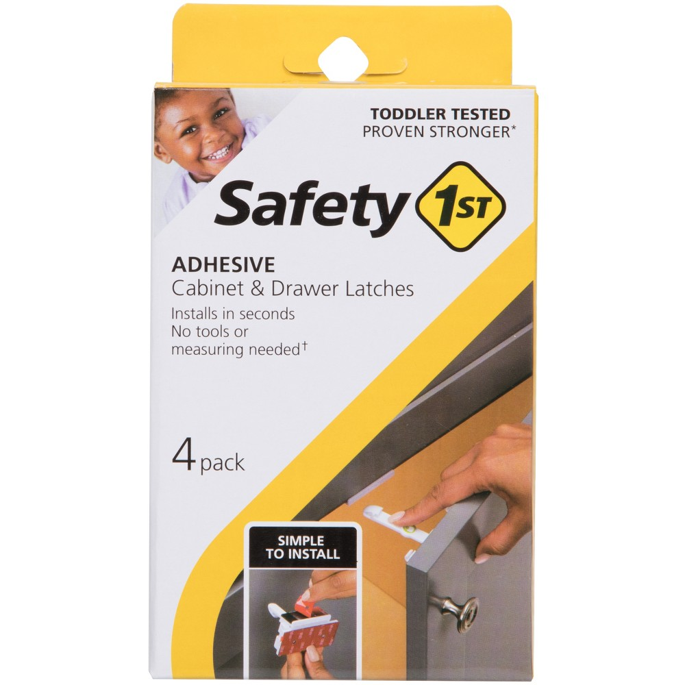Image of Safety 1st Adhesive Cabinet Latch for Childproofing - 4pk, White
