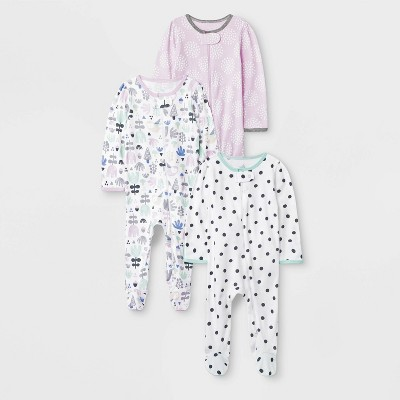 Baby Girls' Sweet Woodland 3pk Sleep N' Play - Cloud Island™ Newborn