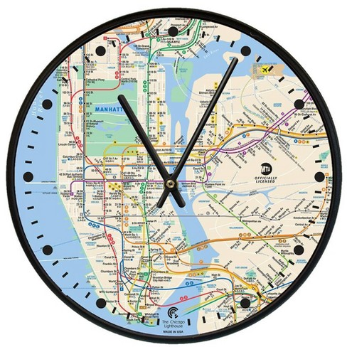"12.75"" New York City Map Decorative Clock Black - The Chicago Lighthouse - image 1 of 2"
