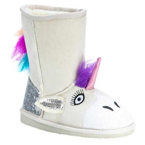 Toddler Girls' MUK LUKS® Luna Unicorn Shearling Style Boots - Natural - image 1 of 4