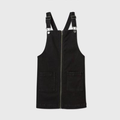 Girls' Denim Zip-Front Dress - art class™ Black