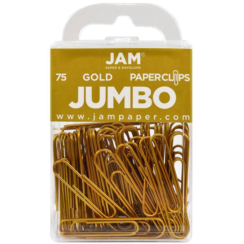 Jam Paper 2 75pk Colorful Jumbo Paper Clips Large Gold
